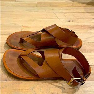 Celine Brown Leather Ankle Strap Flat Sandal